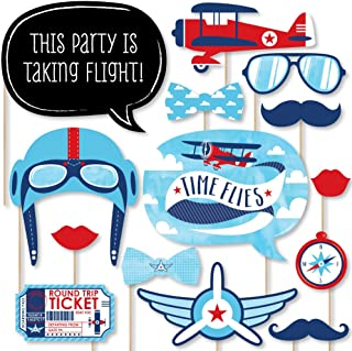 Big Dot of Happiness Taking Flight - Airplane - Vintage Plane Baby Shower or Birthday Party Photo Booth Props Kit - 20 Count