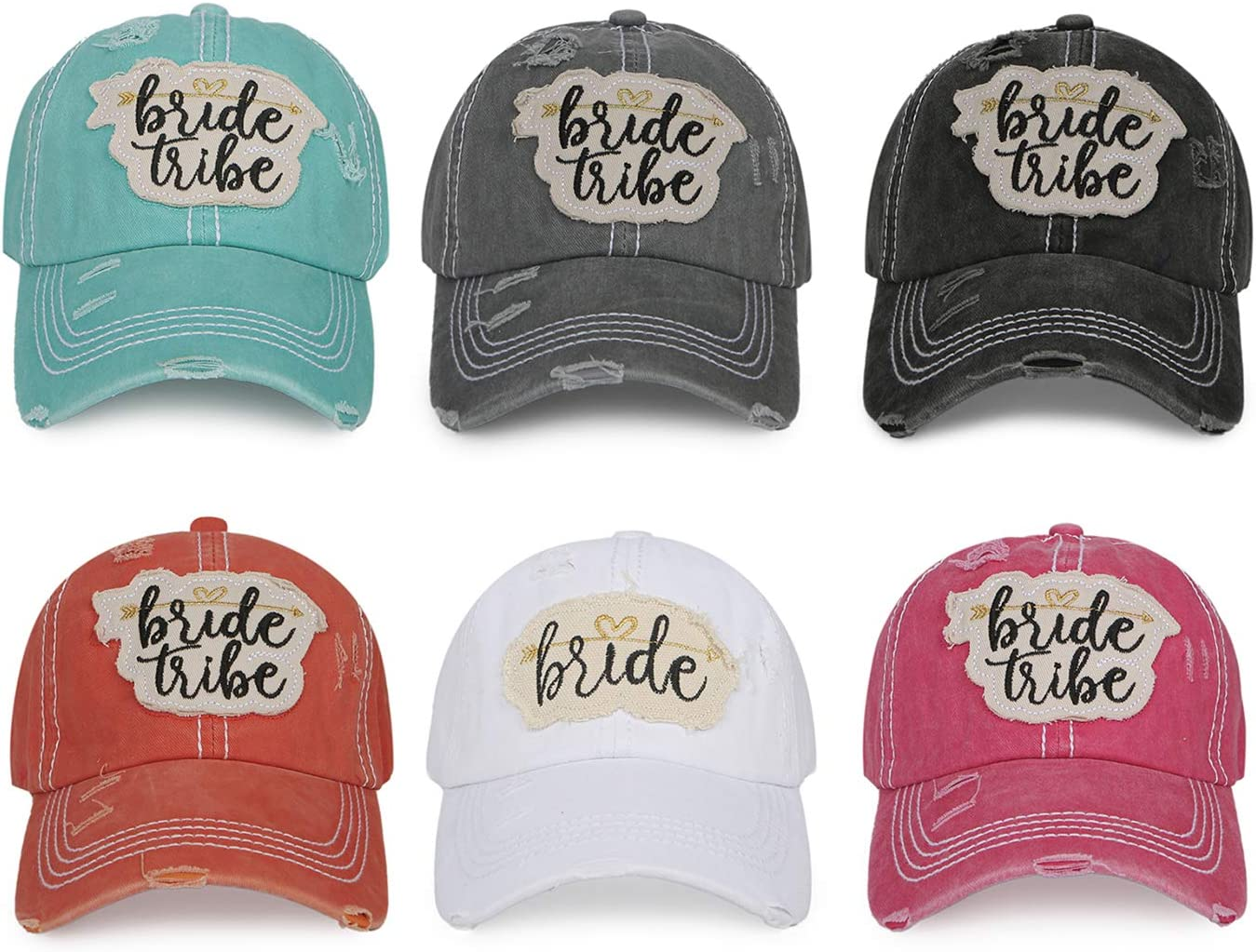 Bride Tribe Bachelorette Party Women's Bridal Baseball Caps Distressed Washed Vintage Embroidered Wedding Party Hats