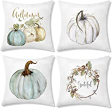 Korlon 4 Pcs Fall Pillow Covers, Decorative Pumpkin Outdoor Pillow Covers 18 x18, Thanksgiving Holiday Autumn Throw Pillow Covers for Harvest Decor