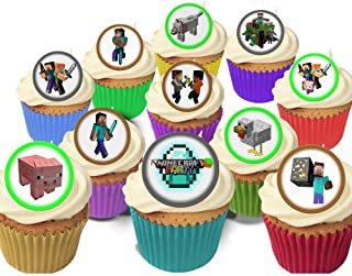 24 Fabulous Pre-Cut Edible Wafer Cake Toppers: Minecraft
