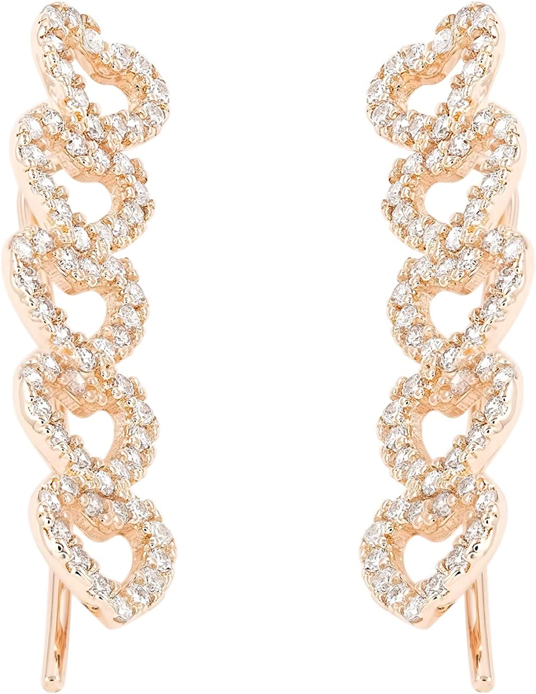 14k Gold Ear Climbers Sweeps Heart Shape Earrings - Elegant Jewelry Crawler Earring Gift for Women - Super Shiny Yellow or White CZ Color.
