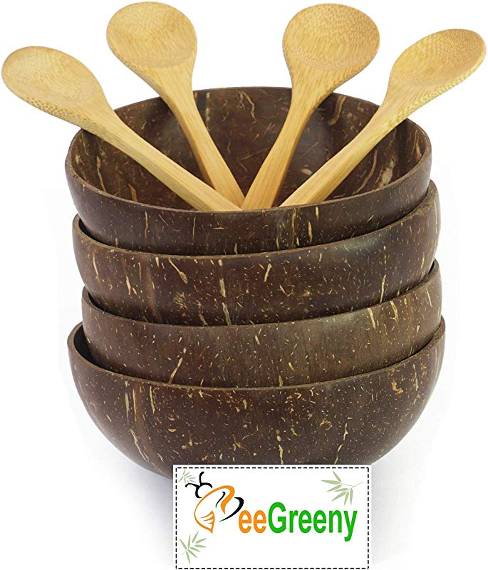 Premium Coconut Bowls With Spoons By BeeGreeny Set Of 4 Polished With Coconut Oil Handmade Vegan Natural Eco Friendly Reusable Bowl For Breakfast Serving Decoration Party