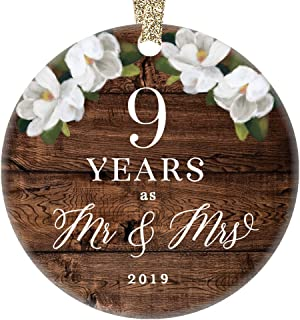 Christmas 2019 Tree Ornament 9th Ninth Wedding Anniversary Ceramic Collectible Husband Wife Couple Married Nine Years Rustic Floral Design 3