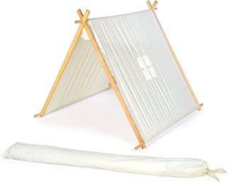 3.5' Canvas A-Frame Teepee With Carry Case - Customizable Canvas Fabric - By Trademark Innovations (White)
