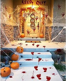 Halloween Party Decorations Zombie Vampire Halloween Party Decor Bloody Hand Footprints Window Wall Decals Zombie Vampire ...