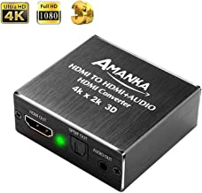 Amanka 4K HDMI Audio Extractor Converter Input HDMI To HDMI Output Optical Audio SPDIF and 3.5mm Stereo Audio Extractor for Blue-ray PC Laptop Xbox One HDTV