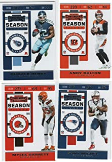 2019 Panini NFL Contenders Football Complete Season Ticket Set of 100 Cards including cards of Stars Patrick Mahomes III, Lamar Jackson, Travis Kelce, Aaron Rodgers, Tom Brady and many more