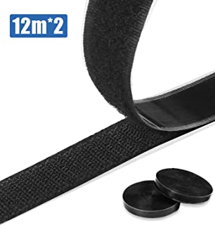 O-Kinee 12M Belcro Adhesivo Fuerte, 20mm Hook y Loop Auto Adhesivo Cinta Rollo Hook and Loop Tape Gancho y Bucle (Negro)