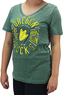 Creative Apparel Women' s Oregon Ducks V-Neck T-Shirt Go Ducks Green & Yellow