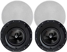Monoprice 2-Way Carbon Fiber In-Ceiling Speakers - 8 Inch With 15 Degree Angled Drivers (Pair) - Alpha Series