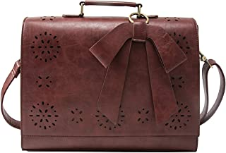 ECOSUSI Ladies Vegan Leather Laptop Bag for School Briefcase Crossbody Messenger Bags Satchel Purse Fit 14 inches Laptop, Coffee