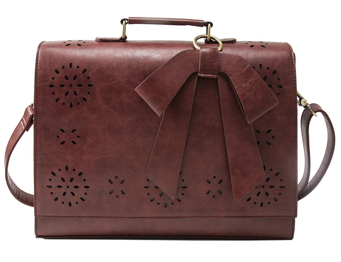 ECOSUSI Leather Briefcase Crossbody Messenger