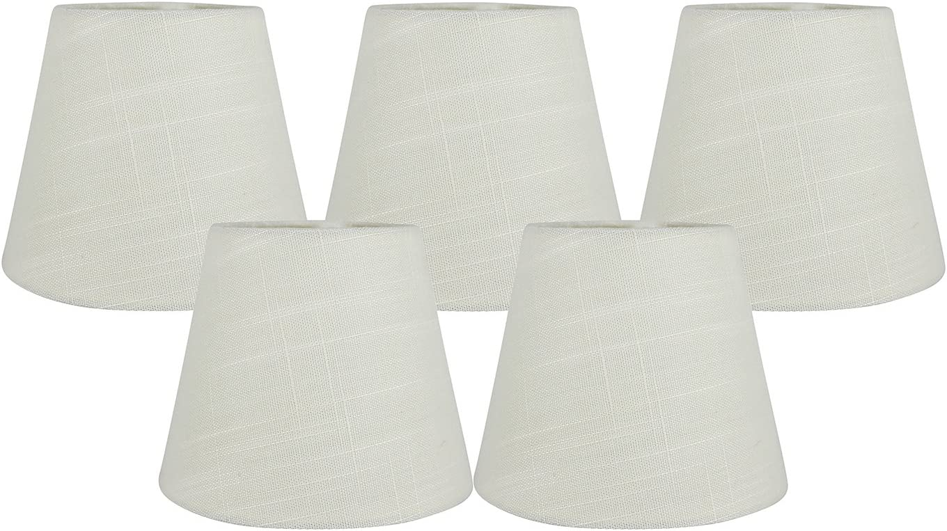 4-inch by 6-inch by 5-inch Meriville Set of 5 Black Linen Clip On Chandelier Lamp Shades