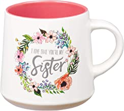I Love That Your My Sister Ecclesiastes 4:9 Ceramic Bible Verse Coffee Mug | Floral Rustic Pink & Ivory Cup for Coffee/Tea...