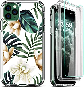 COOLQO Compatible for iPhone 11 Pro Max Case, 360 Full Body Coverage Hard PC+Soft Silicone TPU 3in1 Certified Military Shockproof Phone Protective with [2 x Tempered Glass Screen Protector]- Flowers