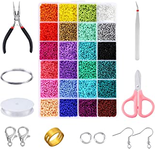PP OPOUNT 24136 Piece Glass Seed Beads Kit, 24 Assorted Colors Craft Seed Beads with Organizer Box and Other Tools for Jew...