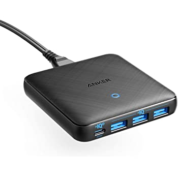Anker PowerPort Atom III Slim (Four Ports)(PD対応 65W 4ポートUSB-C 急速充電器)【PowerIQ3.0搭載 / Power Delivery 対応/GaN(窒素ガリウム)採用】 iPhone 11 / 11 Pro / 11 Pro Max/XS、 MacBook Air、その他USB-C機器対応 (ブラック)