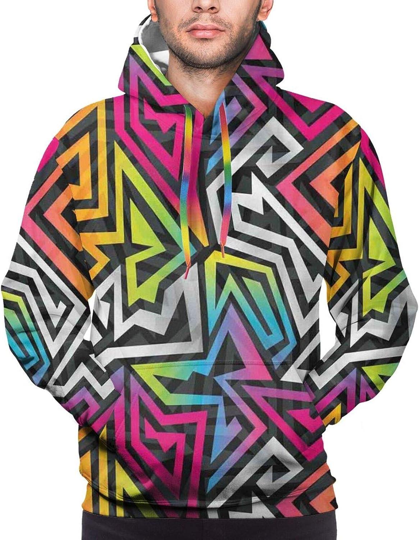 Men's Hoodies Sweatshirts,Rainbow Colored Happy Birthday Quote Typography On Blue Color Backdrop Print