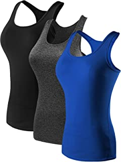 Neleus Women's 3 Pack Compression Base Layer Dry Fit Tank Top