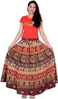 Rajvila 36 Inch Length Women's Cotton Printed Regular Long Elasti Skirt for Women (E_E36NT_0002)