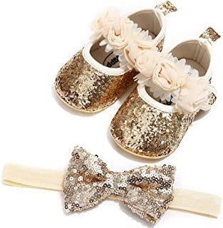 2pcs/Set Baby Girls Sparkling Mary Jane Shoes Soft Anti-Slip Sole Toddler First Walkers Princess Party Dress Shoes with Bow Headband