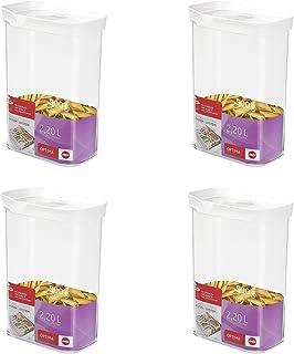 Emsa 514552 Trockenvorrats-Schüttdose Optima, 2,20 l, Rechteck, klar/weiß (4er Pack)