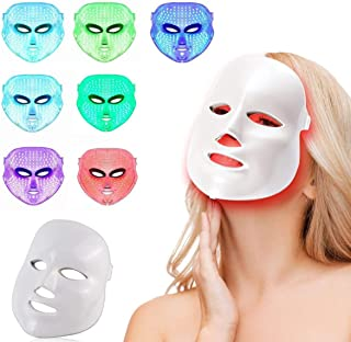Led Face Mask Light Therapy, NEWKEY 7 Led Light Therapy Facial Skin Care Mask - Blue & Red Light Treatment Acne Photon Mas...
