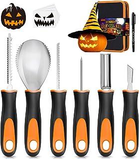 Halloween Pumpkin Carving Kit, 6 Pcs Pumpkin Carving Knife with 12 Stencils 1 Mark Pen 1 Storage Bag, Professional Pumpkin...