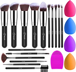 BESTOPE Makeup Brushes 16PCs Makeup Brushes Set with 4PCs Makeup Sponge and 1 Brush Cleaner Premium Synthetic Foundation Brushes Blending Face Powder Eye Shadows Make Up Brushes Tool(silver)