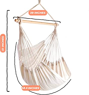 Hammock Sky Large Brazilian Hammock Chair Cotton Weave - Extra Long Bed - Hanging Chair for Yard, Bedroom, Porch, Indoor/Outd