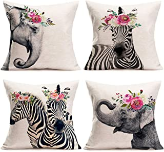 """ShareJ 4 Pack Cute Animals Throw Pillow Covers Elephant Zebra Head Wearing Flowers Pattern Design Cotton Linen Cushion Cases Modern Decorative for Home Sofa Bedroom Car 18""""×18"""""""