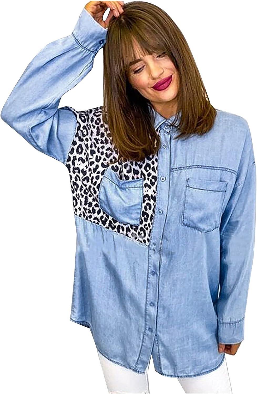 Women Leopard Denim Jacket Shirt Autumn Loose Collar Color Block Long Sleeve Button Distressed Ripped Jacket Coat