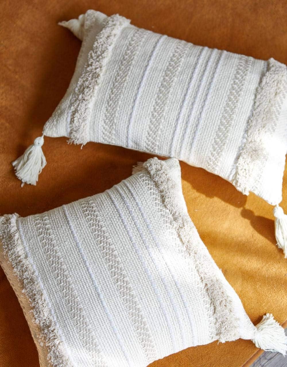 DSHRTY taie d'oreiller,45 * 45 Chaise Coussin Décor À La Maison Minimaliste Taie d'oreiller Tufté Gland Gris Siège Coussin Taie d'oreiller, Blanc 30x50 Blanc 30x50