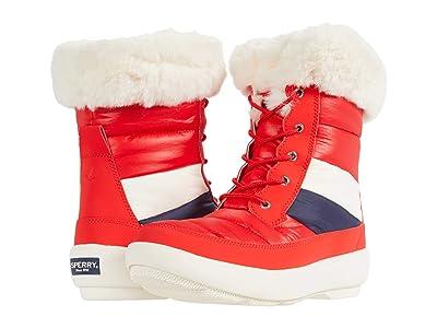 Sperry Bearing PlushWave Boots Nautical Stripe Nylon (Red) Women