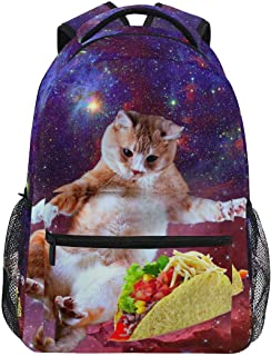 Granbey Space Taco Cat Backpack Cute Galaxy Burrito Kitten Students Bookbags