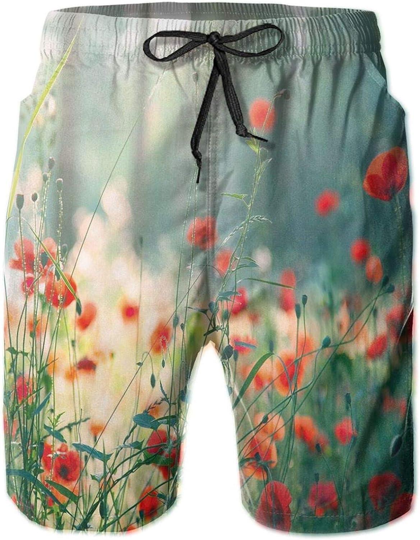 Wild Red Poppy Flowers Field Summertime Sunbeams Gardening Bedding Plants Mens Swim Shorts Casual Workout Short Pants Drawstring Beach Shorts,XXL