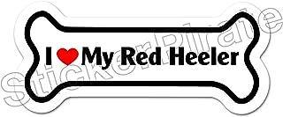 Dog Bone Magnet I Love My Red Heeler Car Truck Locker Magnet