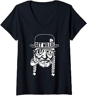 Womens Love St Patricks Day Shirt Willie T Shirt Nelson Funny Lucky V-Neck T-Shirt