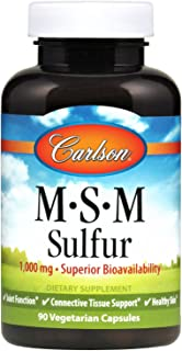 Carlson - M-S-M Sulfur, 1000 mg Superior Bioavailability, Joint Function, Connective Tissue Support & Healthy Skin, 90 Veg...