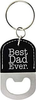 ThisWear for Dad Best Dad Ever Leather Bottle Opener Keychain Key Tag Black