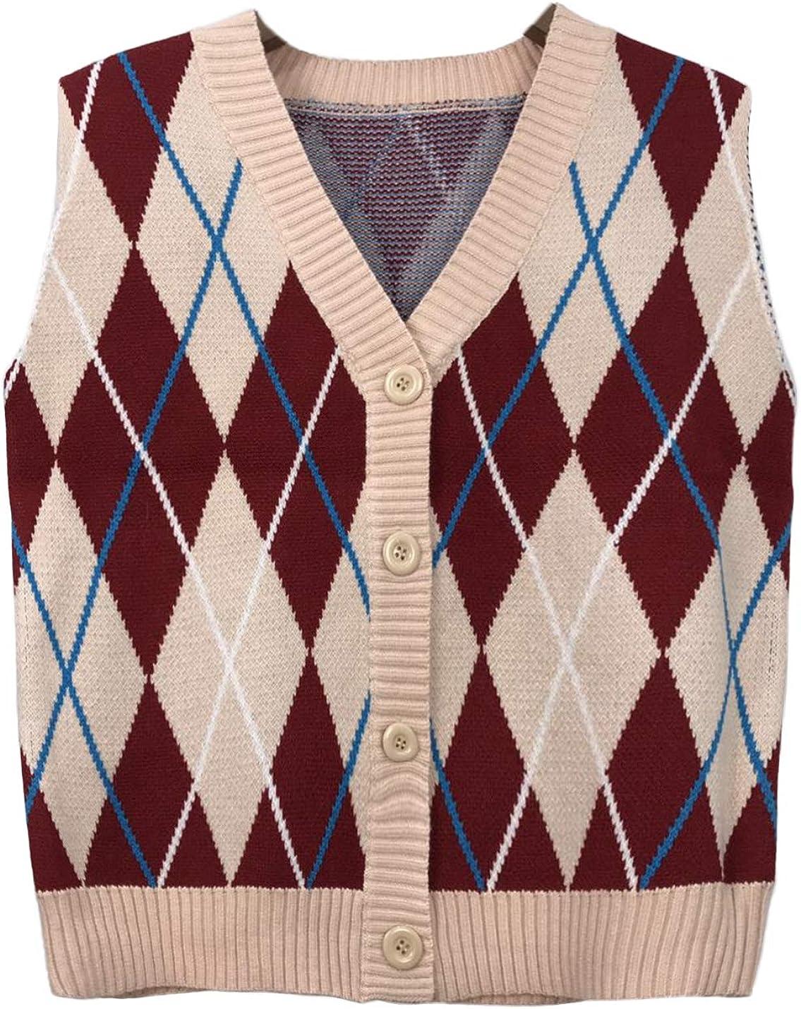 Lentta Womens Button Up V Neck Knitted Sleeveles Jacket Sweater Blockcolor Vest