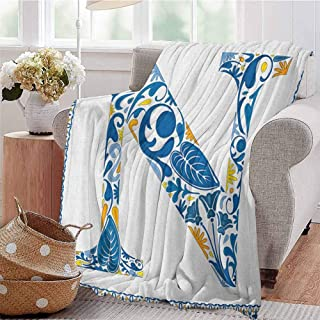 Luoiaax Letter N Bedding Microfiber Blanket Floral Design in Vintage Alphabet Font Design N in Azulejo Inspired Frame Super Soft and Comfortable Luxury Bed Blanket W91 x L60 Inch Blue Yellow Orange