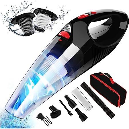 RIKIN Handstaubsauger Auto Staubsauger Kabellos 8500PA 120W mit LED-Licht Leistungsstark Drahtloser Autostaubsauger mit Edelstahl HEPA-Filter