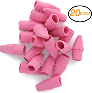 Emraw Pink Color Fun Mini Chisel Shaped Eraser Top Cap for Any Standard Pencil - Use in School, Home & Office (20 Pack)