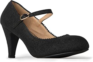 Mary Jane Kitten Heels - Vintage Retro Scallop Round Toe Shoe with an Adjustable Strap - Honey