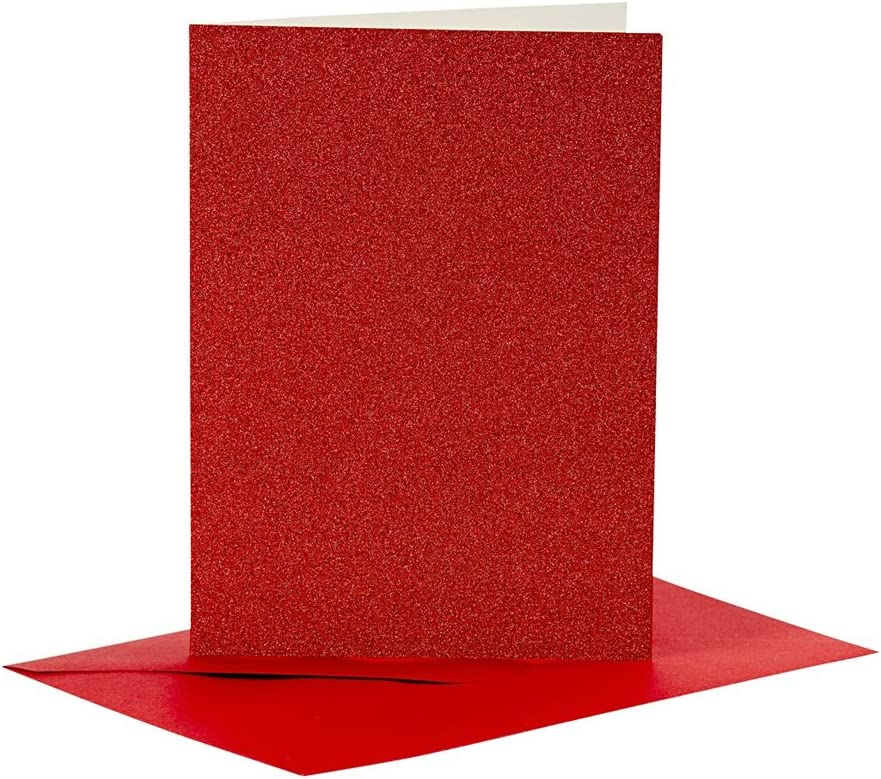Card Making Blanks 4 Red Glitter A6 Cards and Envelopes for Card Making Crafts