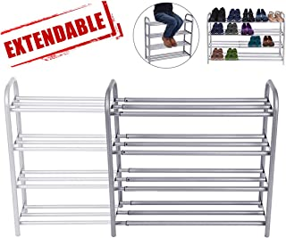 GEMITTO 4-Tier Shoe Rack Organizer, Expandable Durable Shoe Home Storage Shelf Rack, Heavy Duty, Holds 20 Pairs Shoe, for Closet Bedroom Entryway (23.6