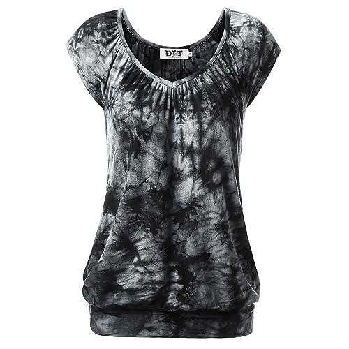 ed0be05210 DJT Women Basic Jersey Tops Stretch Banded Hem Casual Short Sleeve T-Shirt