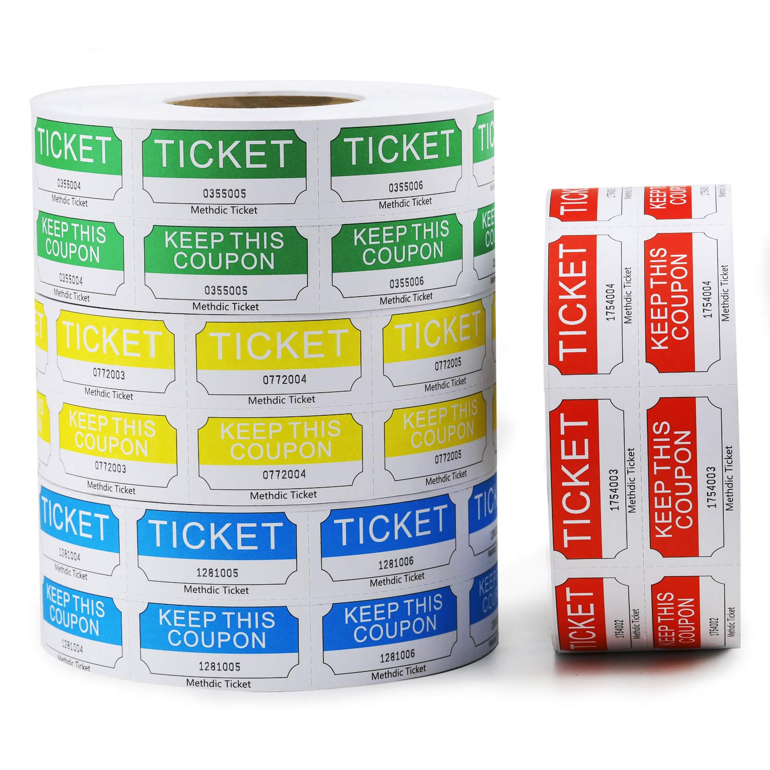 Methdic Raffle Tickets Double Roll 4 Colors Set 1000 Tickets per Roll (4 Color Set)
