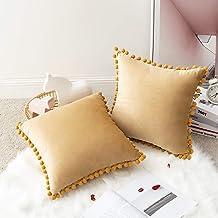 MIULEE Aksamitne poszewki na poduszki, miękkie, kwadratowe, z pomponami, dekoracyjne poszewki na poduszki, urocze i piękn...